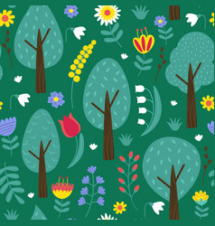 seamless pattern with trees and flowers vector image vector image