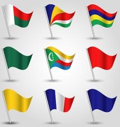 set of flags east africa indian ocean islands vector image vector image