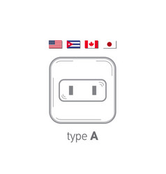 sockets icon type a ac power sockets realistic vector image