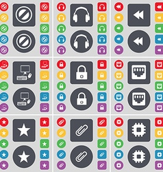 Stop headphones rewind pc lock lan socket star vector