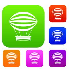 striped retro hot air balloon set color collection vector image