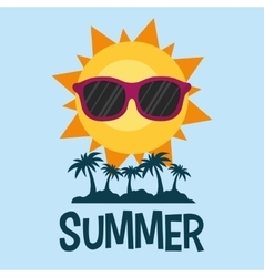 summer poster palms sun glasses vector image