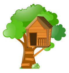 Tree with treehouse on it vector