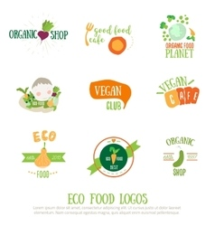 Vegan cafe logo elements on white background vector image vector image