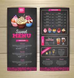 Vintage chalk drawing dessert menu design vector image vector image
