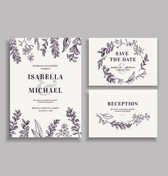 Vintage wedding set with greenery vector image