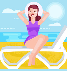 Woman in hat and bathing suit at sea vector