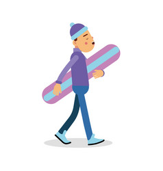 Young boy walking with snowboard cartoon character vector