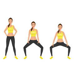 Young woman make squats exercises with hands on vector