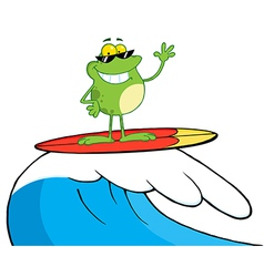 Happy Frog While Surfing vector image