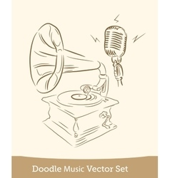 doodle music set isolated on white background vector image