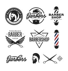 Barber shop badges set vintage vector
