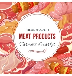 Gastronomic meat products menu design vector image