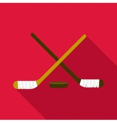 Hockey sticks and puck icon flat style vector