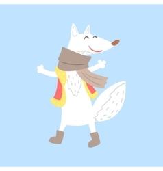 Polar white fox in vest and scarf arctic animal vector