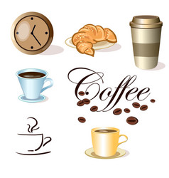 set of coffee cups clock and croissant vector image