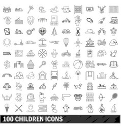 100 children icons set outline style vector image