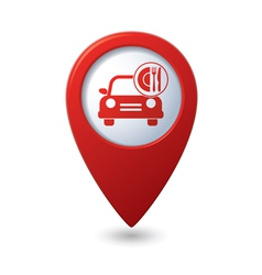 Car with fast food icon on red pointer vector