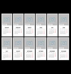 Calendar for 2018 template design vector