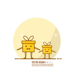 Trendy icon giftbox with ribbons vector