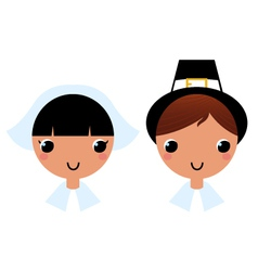Cute thanksgiving couple isolated on white vector