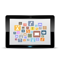 Tablet computer and application button vector