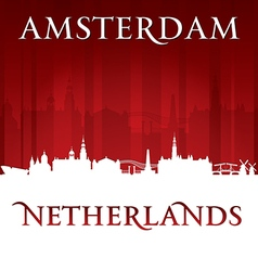 Amsterdam netherlands city skyline silhouette vector