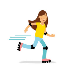 Active girl roller skating cartoon character kids vector