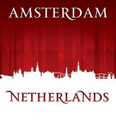 Amsterdam Netherlands city skyline silhouette vector image