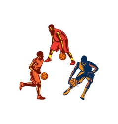 Basketball Player Dribble Woodcut Collection vector image vector image