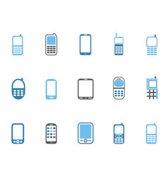 blue cell phone icons set vector image