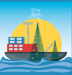 Boat over sea with fishing net vector
