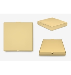 Brown pizza boxes set vector