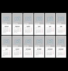 Calendar for 2018 template design vector