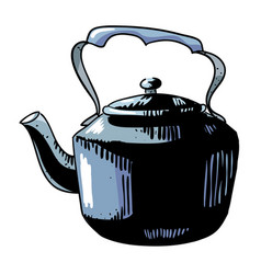 Cartoon image of old black kettle vector