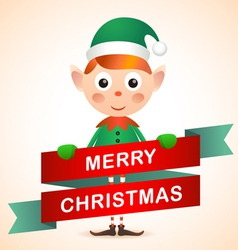 Christmas elf card vector