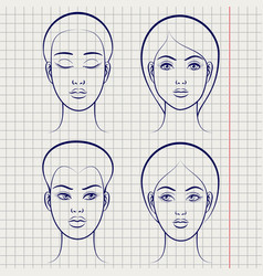female faces on notebook page vector image vector image