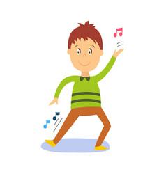 flat cartoon boy kid dancing isolated vector image