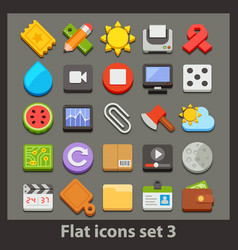 flat icon-set 3 vector image
