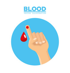Hand with drop blood vector