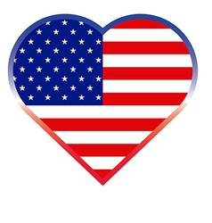Heart shape american button vector