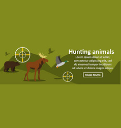 hunting animals banner horizontal concept vector image
