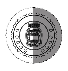 Monochrome sticker round frame with bottle with vector
