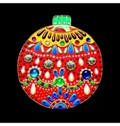 Original handmade red christmas ball decoration vector