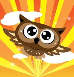 Owl flying quickly vector image