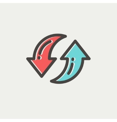 Pair of arrow thin line icon vector image