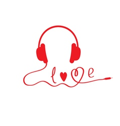 Red headphones white background love card vector