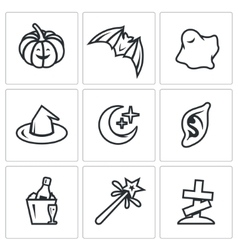 Set of Halloween Icons Pumpkin bat ghost vector image vector image