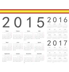 Set of spanish 2015 2016 2017 year calendars vector