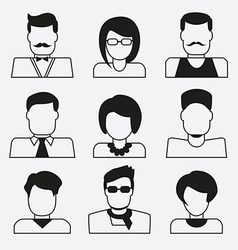 Set of user icons Linear avatars women and men vector image
